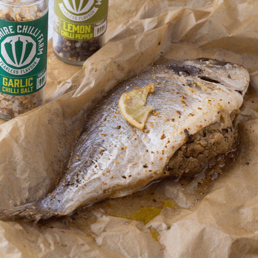 Wiltshire Chilli Farm - Garlic Chilli Salt - Lemon Chilli Pepper -Baked Stuffed Fish