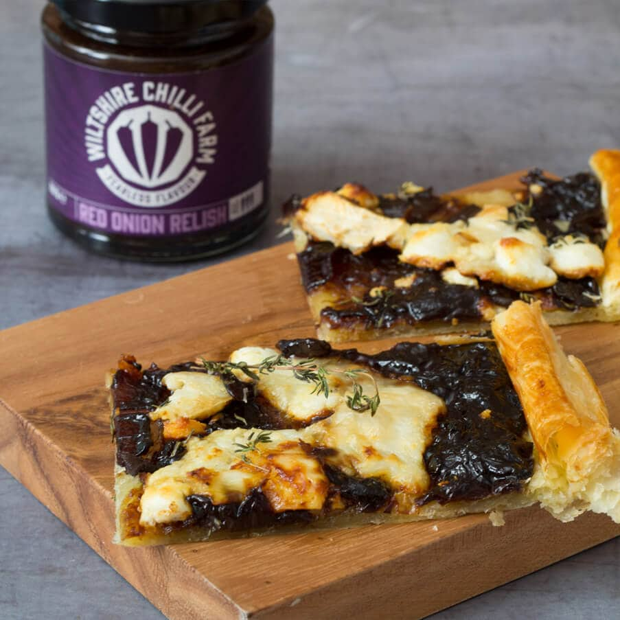 Wiltshire Chilli Farm - Goat's Cheese and Red Onion Tart